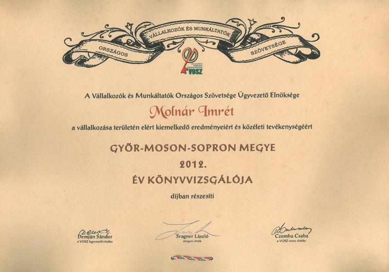 Az év könyvvizsgálója 2012